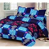 Sunrise Home Furnishings Luxury 3D Printed Cotton Double Bedsheet with Pillow Cover, King Size (Blue)