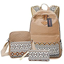 WASING Canvas Dot Backpack Cute Lightweight Teen Girls Backpacks School Shoulder Bags WS-RS-3PKhaki