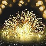 Guirlande Lumineuse à LED Fivanus 300 Leds Lumineux Cuivre Fil 30 Mètres Corde Etoile Lumineuse Chaîne Lumière Décoration Chambre Extérieur et Intérieur Etanche Eclairage Ambre Intensité Variable (CE Alimentation Certifié)