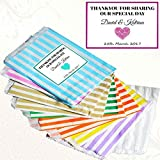 Paper Striped Sweet Bags with Stickers – 100/50/20/10/1 Personalised Sweet Bags for Parties, hen party party bags, wedding favour bags