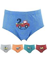 Allmeingeld Enfants Garçons Lot de 5 Paires de 100% Coton Imprimé Voiture Slip Enfants Sous-vêtement Taille 3-11ans