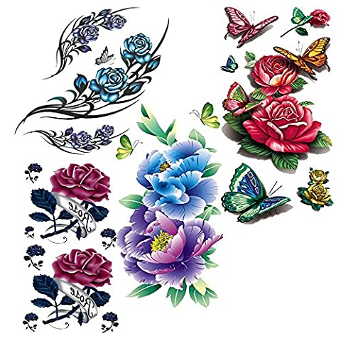Evtech(tm) 4 Style Mix Blossom Floral Flowers Animal Butterfly Red Peony Purple Rose Lotus Chinese Rose Colorful 3D Temporary Tattoos Waterproof NightClub Transfer