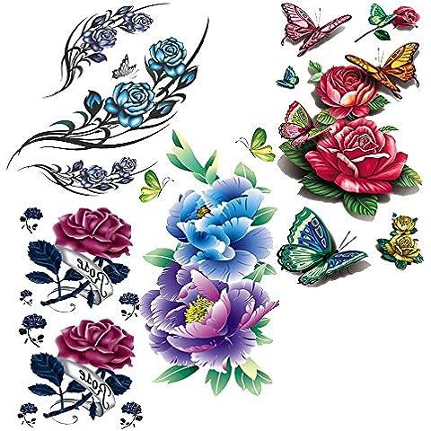 Evtech(tm) 4 Estilo Mix Flor Flores florales de animales rojo de la mariposa Peony Purple Rose Lotus China Rose colorida 3D tatuajes temporales club nocturno impermeable Tatuajes Transferencia