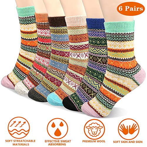 Emooqi Warme Socken, 6 Paare Mode Wolle Socken Komfort Atmungsaktive Warm Winter Damen Socken Bunte Gemusterte Stricksocken Winter Socken für Winter Outdoor und Indoor Geschenk EU 35-42
