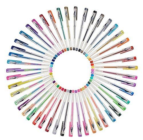 creyart Gel Stift-Set mit 48Gel Ink Stifte in schwarz, Glitzer, Metallic, Swirl & Neon Farben–Ideal für Färben, Schreiben & Kunst-Projekte