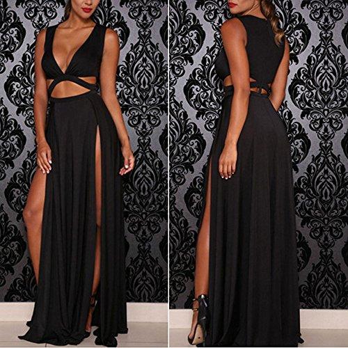 ZEARO Damen Sexy Maxikleid Cocktailkleid Abendkleid Ballkleid Partykleid Clubwear Schwarz