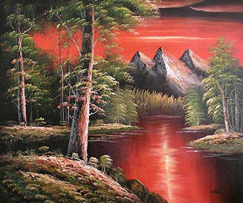 Paisaje Natural de la Montaña Pintura al óleo pintada a mano sobre lienzo - Excelente calidad y la artesanía