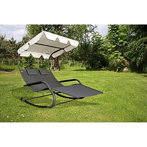 Doppel Schaukelliege SERIFOS Relaxliege Gartenliege Liege Garten Möbel + Dach