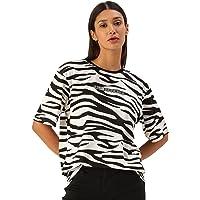 Veirdo Cotton Half Sleeve Oversized Cow & Zebra Printed T-Shirt for Women/Girls