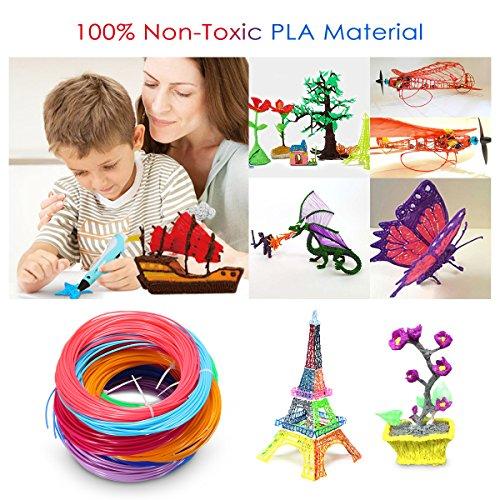 ELEGIANT 20 Stück Ink Filament PLA Filament 3D Stift Filament 1.75MM 10M 3D Print Filament 3D Printing Pen Supplies PLA Material 20 Farben Set für 3D Drucker Stift 3D Pen Kinder - 4