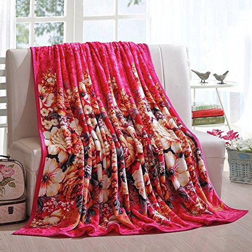 shinemoon Super Soft Flowers Muster Erwachsene Kinder Plüsch Fleece Bett Sofa Couch Decke/Überwurf Outdoor-Reise Picknick Camping Decken für die kalte, 100 % Polyester, Peony Flowers, 120x200cm (Thermal-baby-decke)