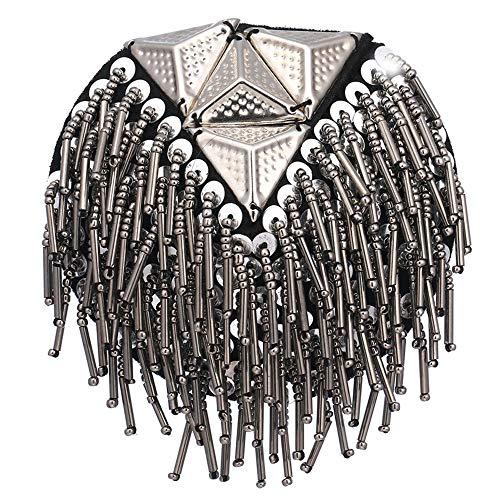 DMMW Schulterklappen Fransen Schulter Epaulet Schulterklappen Stücke Niet Quaste ChainBadge Kostüm Uniform Zubehör (Gold) (Farbe : Silber) (Machen Kostüm Schulterklappen)