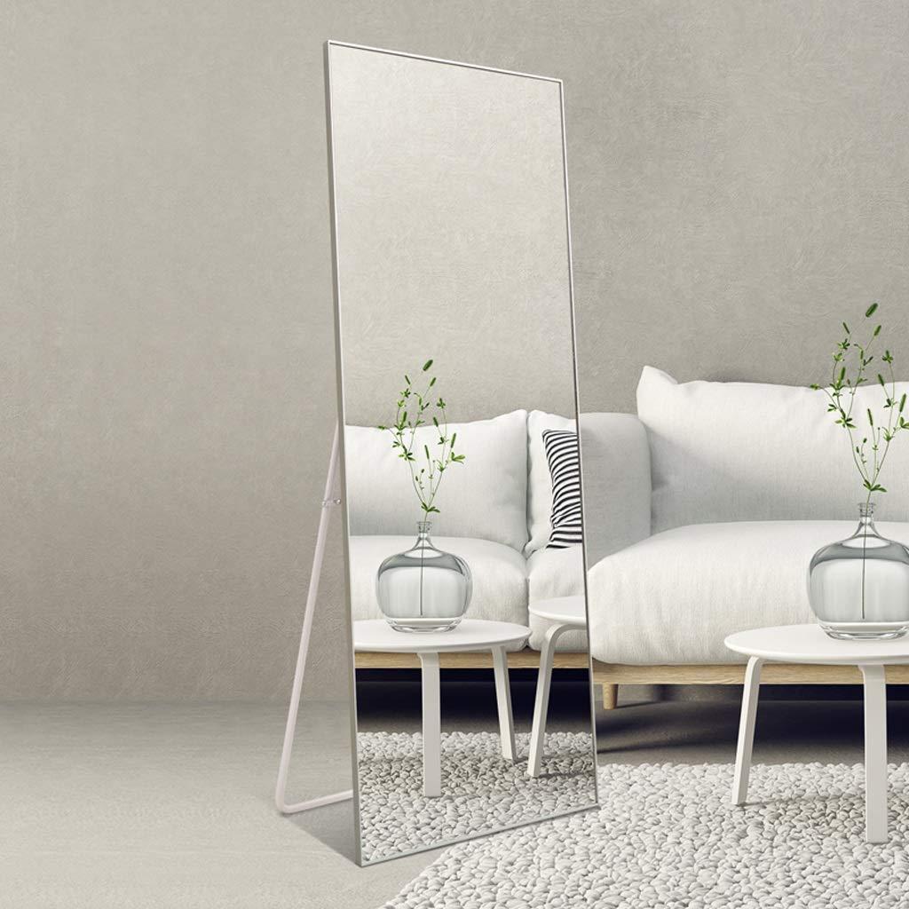 Specchio da Terra- Specchio da Pavimento per Camera da Letto con Specchio  in Lega di Alluminio (Colore : Aluminum Color, Dimensioni : 65 * 170cm) |  ...