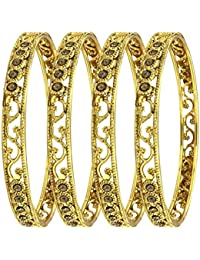 YouBella Jewellery Traditional Gold Plated Wedding Bangles Set For Girls And Women - Set Of 4