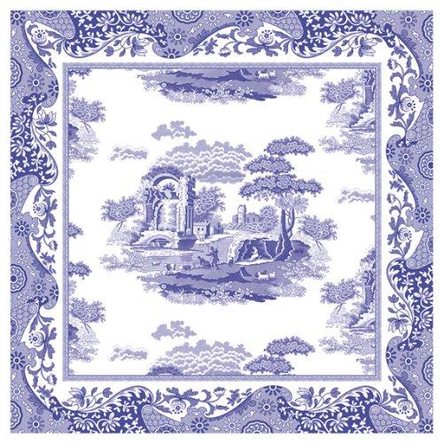 Spode Servietten, Italienische Art, Blau, 4 Stück -