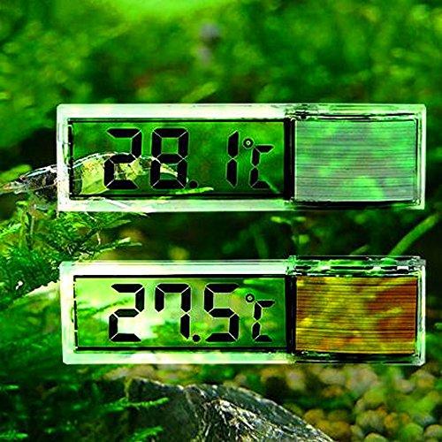 Gudelaa Aquarium 3D Digitales Elektronisches Thermometer Aquarium LED Extern Angebrachte Kristall Sensor Energiesparende Wasser Temperatur Meter Silber -