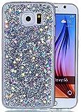 Galaxy S6 Hülle,Hülle Galaxy S6 Glitzer Hülle,Galaxy S6 Handyhülle,Roreikes Liquid Quicksand Bling Glitzer Fließen Flüssig Luxus Schön Ultradünne Transparente Gel Schutzhülle Rückschale Liquid Weiche Silikon Durchsichtige Stoßdämpfung Kristall Schale Bumper Etui Case Cover