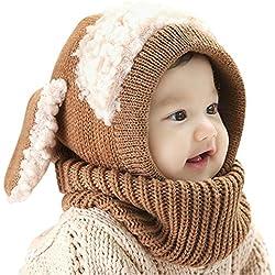 Gorro-bufanda de invierno infantil, de punto de lana, diseño de buzo con orejeras, unisex, cálido calentador de cuello, ideal como regalo de Navidad para niños de 6-36meses, Infantil, marrón, talla única