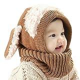 Wintermütze- und Schal-Set, niedlich mit Ohrenklappen und Ohren, aus Wollstrick, für Kinder von 6-36 Monaten, Kinder von 6-36 Monaten