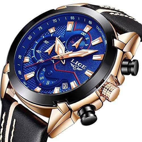 Uhren für Herren,LIGE Chronograph Wasserdicht Militär Sport Analog Quarzuhr Lederband Großes Gesicht Datum Mode Casual Kleid Armbanduhr Roségold blau