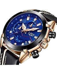 b8a80bdb28a5 Relojes Hombre Relojes de Pulsera de Lujo Cronógrafo Impermeable Calendario  Analogicos Cuarzo Relojes Deportivo Casual Clásicos