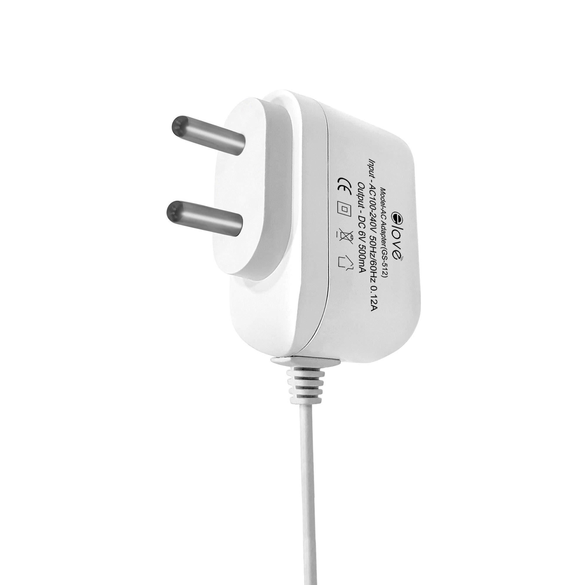 Elove 6V AC/DC Power Adapter for Omron 5, 7 Series Blood Pressure  Monitor/BP Machine Adapter with 10 Feet Extended Cord - White