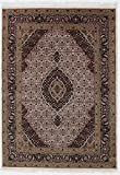 Nain Trading Indo Täbriz 204x144 Orientteppich Teppich Beige/Lila Handgeknüpft Indien