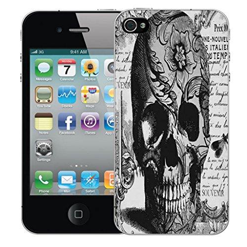 Mobile Case Mate iPhone 4s clip on Dur Coque couverture case cover Pare-chocs - noir libra Motif black periodical skull