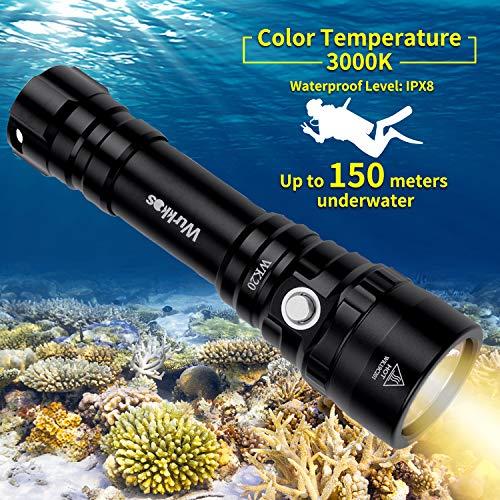 Wurkkos Tauchlampe/Taschenlampe mit 1000 Lumen, bis 150m wasserdicht, XPL-LED mit warm weißem Licht(3000K),inkl.1x18650 Akku und Ladegerät,nach IPX-8 wasserdicht