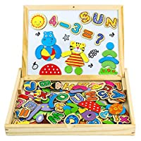 Wooden Magnetic Drawing Board, Double-sided Magnetic Board Jigsaw Puzzle, Letters Alphabets Games for Children 3 4 5 6 7, Random Delivery