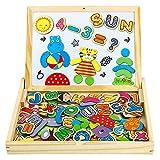 Pädagogisches Holzspielzeug 90 Stück Magnetische Holzpuzzle Lernspielzeug Kühlschrank Dekoration Montessori Spielzeug Puzzle aus Holz Geschenk für Junge Mädchen Kinder ab 3 4 5 Jahre