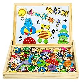 Puzzle Magnetico Legno Giocattolo di Legno Bambini con Double Face Magnetica Lavagna Legno 90 pcs Ta