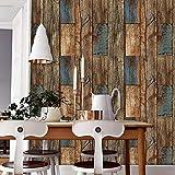 KYKDY Hölzerne Planke PVC-Tapete der Weinlese-3d bräunen sich, Brown/Blau strukturierte Rolls Wohnzimmer Schlafzimmer Home Wanddekoration, Brown, USA, 10m * 0,53m = 5,3 Quadratmeter