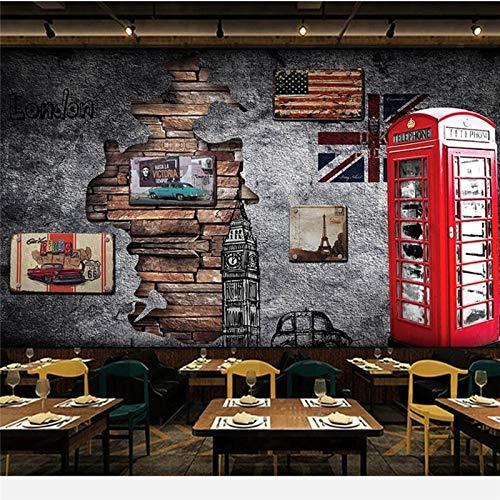Apoart 3D Wandtapete Europa Und Die Vereinigten Staaten Retro Nostalgie London Telefonzelle Café 3D Wallpper350Cmx245Cm