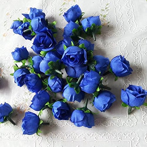 RICISUNG 50pcs Artificial Roses Flower Heads 3cm Wedding Decoration Navy blue