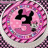 vorgeschnittenen Essbarer Zuckerguss Cake Topper, 19,1cm rund Minnie Maus zum 3. Geburtstag