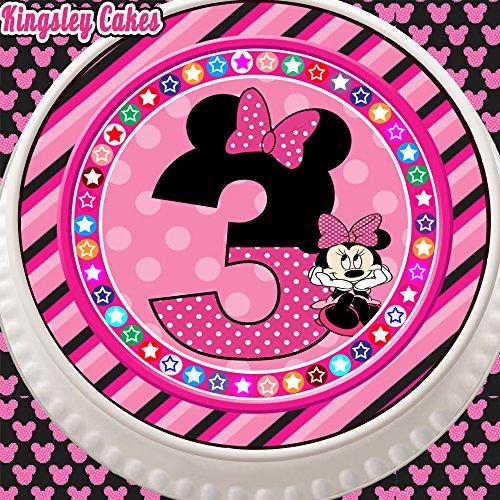 Tortenaufsatz mit Minnie-Maus-Motiv, vorgestanzt, essbar, aus Zuckerguss, 19cm, rund, zum 3. Geburtstag