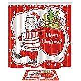 Decorazioni natalizie Tema del fumetto Santa Carry Sacchetto regalo vibrante Surround by Red Taglio Tende da doccia Set By KOTOM Tende da bagno 69X70 Inches Tappeto da interno Tappeto da bagno 60x40cm