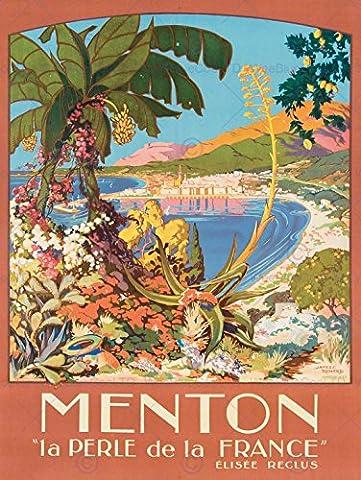 TRAVEL TOURISM MENTON FRANCE PEARL FLOWERS BAY COAST SEA IMPRIMER AFFICHE FINE ART PRINT POSTER 30x40cms CC2051