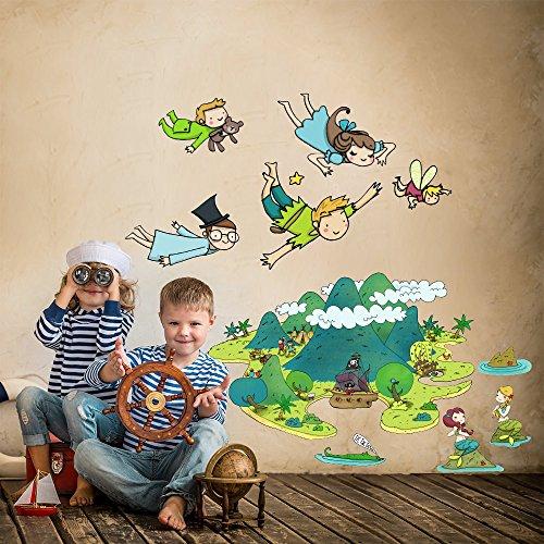 Kina r00160 adesivo murale per bambini wall art - l'isola che non c'è - misure 40x120 cm - decorazione parete, adesivi per muro, carta da parati