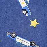 Baumwollstoff Polizei Sterne dunkelblau gelb 1,45m Breite