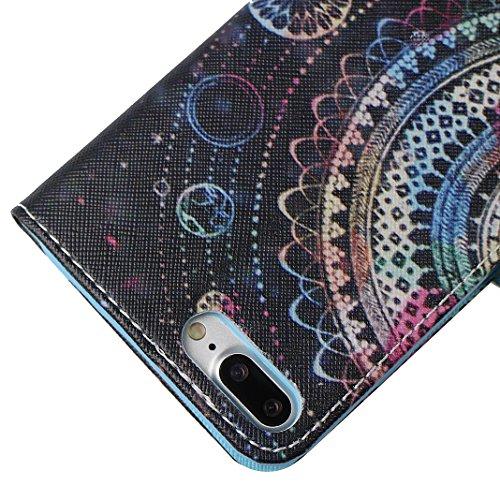 iPhone 7 Plus Tasche Leder, iPhone 7 Plus Ledertasche, iPhone 7 Plus Case, Moon mood® Ledertasche für Apple iPhone 7 Plus (5.5 Zoll) , PU Leder Cover Hülle Folio Handyhülle Gemalt Muster Premium Bumpe 4 Totem F