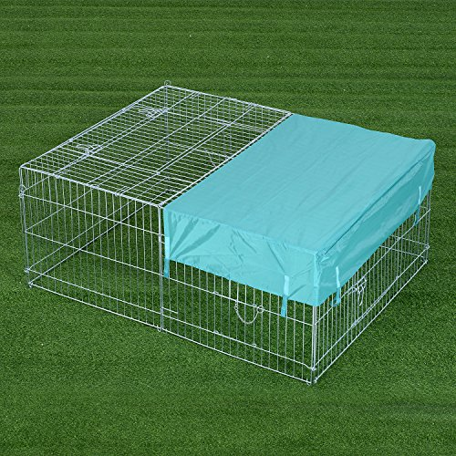 pawhut-small-animal-folding-enclosure-run-with-roof-rabbit-guinea-pig-duck-chicken-pet-metal-cage-ou