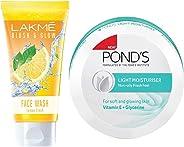 Lakmé Blush and Glow Lemon Fresh Facewash, 100g & Pond's Light Moisturiser, 250ml