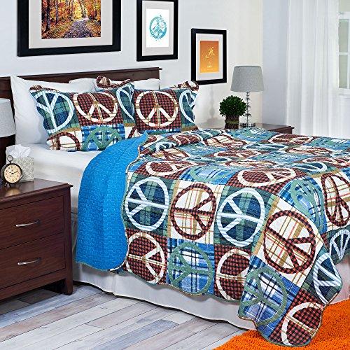 Lavish Home 2-teilig Frieden Quilt Set