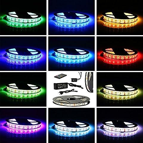 CoastCloud LED STRISCE RGB CON TELECOMANDO CON CONTROLLATORE (SMD5050+20Keys Musica Telecomando+Alimentator)