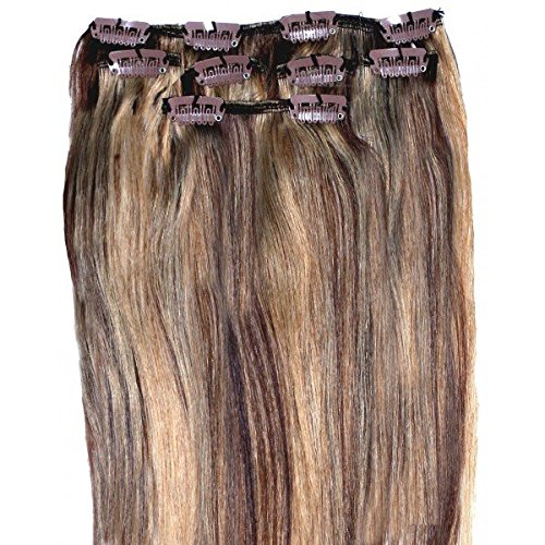 Forever Young Clip In Remy 100% Human Hair Extensions Medium Brown and Blonde Mix Half Head 16 Length by Forever Young (Hair Extensions Forever Young)