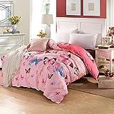 Unbekannt WLL North European Style Gestreifte Blumen/Blumen 100% Baumwolle Bettbezug-H220*240 cm (87 x 94 Zoll)