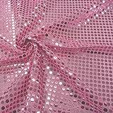 Kreativstoff Pailletten Lurex Stoff rosa 6mmØ 1,1m Breite