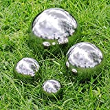 Ensemble de 4 sphères de jardin en acier inoxydable poli 6,5, 9, 13 & 18cm